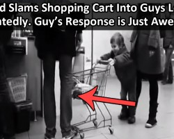 Kid Slams Shopping Cart Into Guys Leg  Repeatedly. Guy's Response is Just Awesome.